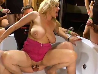 Oversexed babes banged fixed far Euro bukkake