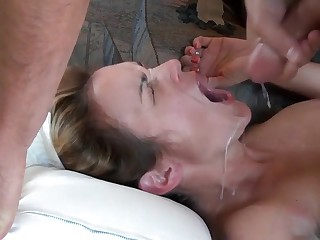 Nympho cuckold spliced cumpilation