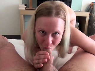 Blonde masturbates and gives pov blowjob