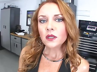 Big titted, red haired woman, Janet Mason is giving amazing blowjobs, free of any charge