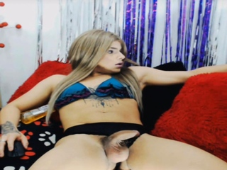 Blonde Shemale Hard Jerking Her Big Cock
