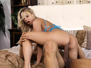 Blond Pornstar in Interracial Action