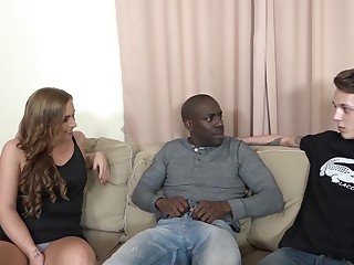 Bad wife, Chrissy Curves is fucking a black man, while her horny husband is watching
