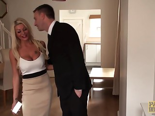 Milf with blonde hair and big tits is offering her pussy to her horny partner