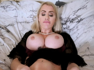 Busty stepmom teaching son how to satisfy a MILF pussy
