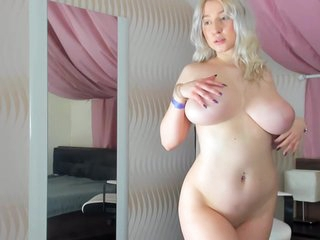 Busty, Blonde Plumper Is Naked And Playing With Her Milk Jugs, In Front Of The Camera