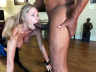 Mature Blonde Woman With Big, Natural Tits Got Fucked From The Back And Ate Some Fresh Cum