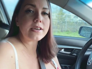 Busty Natural Stepmom Gives Tits And Deepthroat Cock Sucking In Car - And Almost Gets Caught