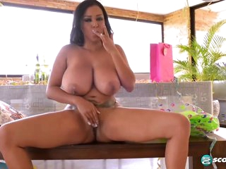 Busty Brunette, Shanie Gaviria Is Showing Her Tits And Pussy In Front Of The Camera