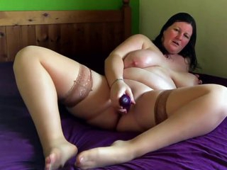 Chunky Bbw Housemate Trying Out Her New Ten Inch Purple Dildo While Home Alone And Horny