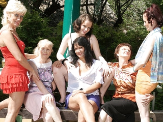 Six Horny Old And Young Lesbians Have A Dirty Wet Picnic - MatureNL