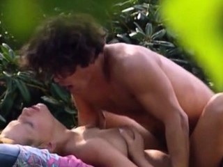 Amateur female gardener gets pounded outdoors