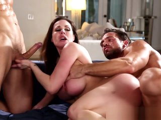 Super milf cockriding on touching threeway